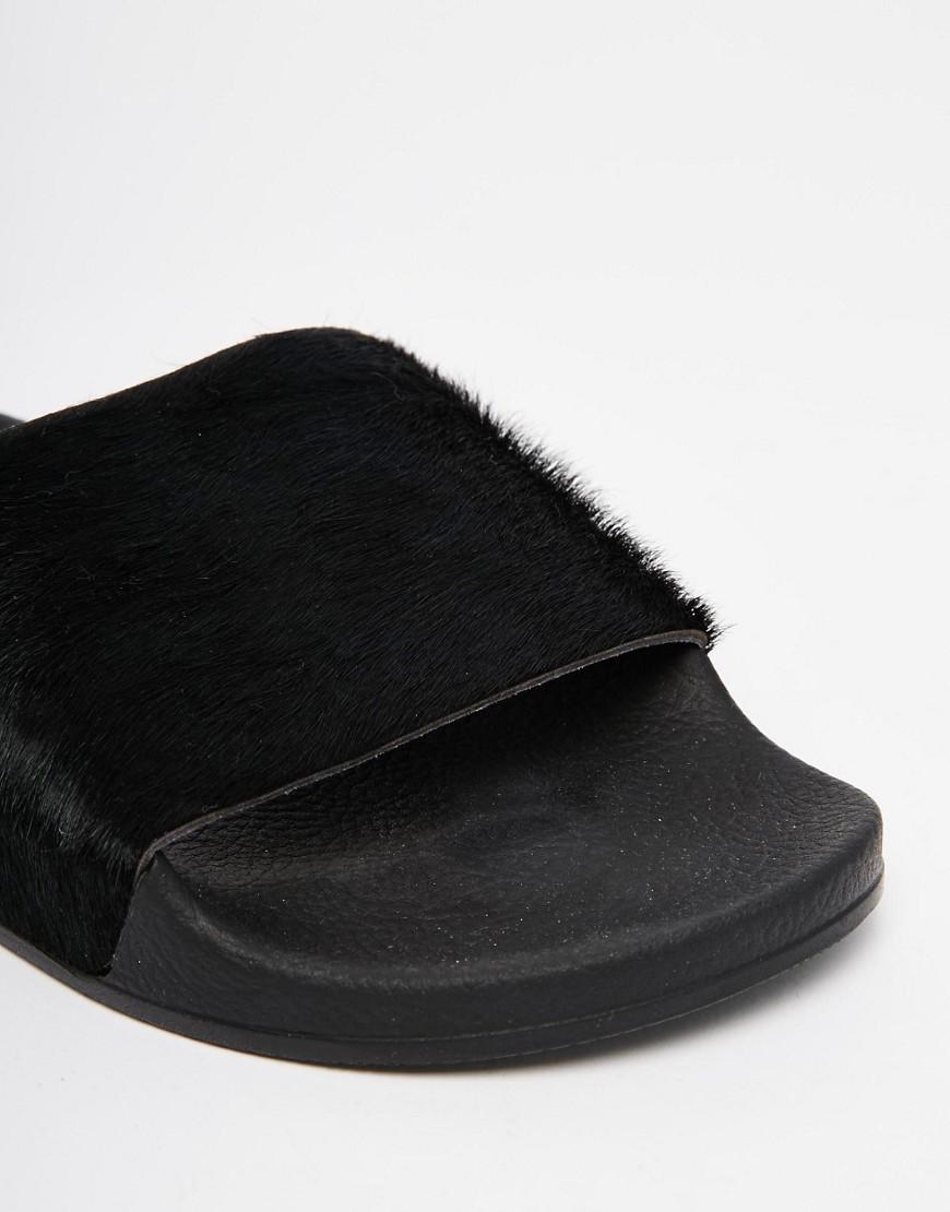 30379cdf526567 Adidas Originals Adilette Pony Hair Slider Flat Sandals in B