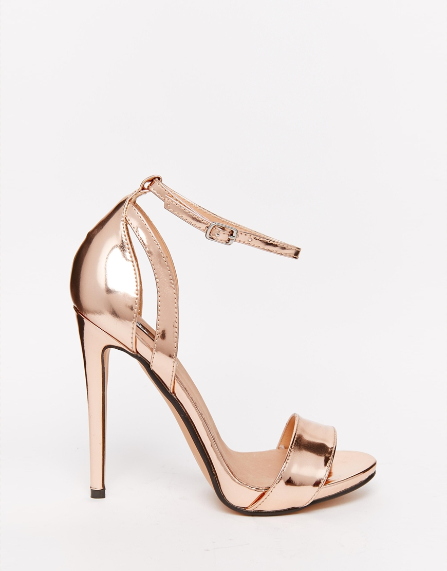 ab3a4f9aa8ae Lost Ink Raula Rose Gold Two Part Heeled Sandals - Lyst