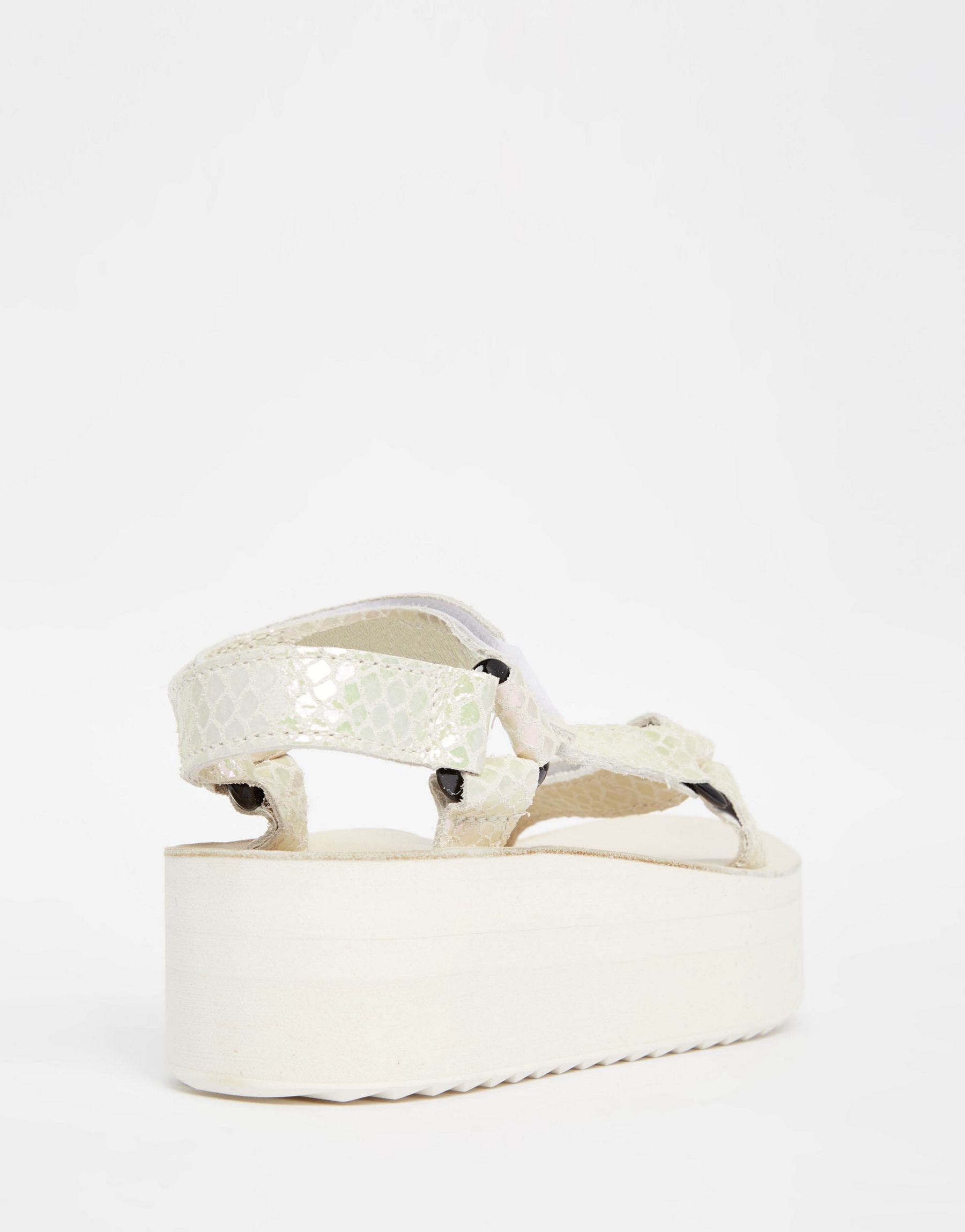 1a93a8805477 Lyst - Teva Flatform Universal White Iridescent Sandals in White