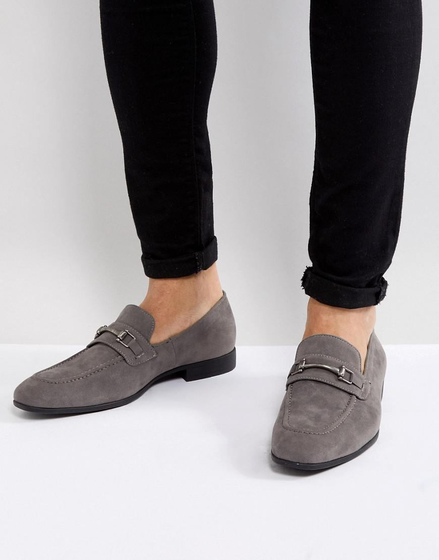 ASOS DESIGN Loafers In Grey Suede With Woven Detail shopping online outlet sale 302Gf