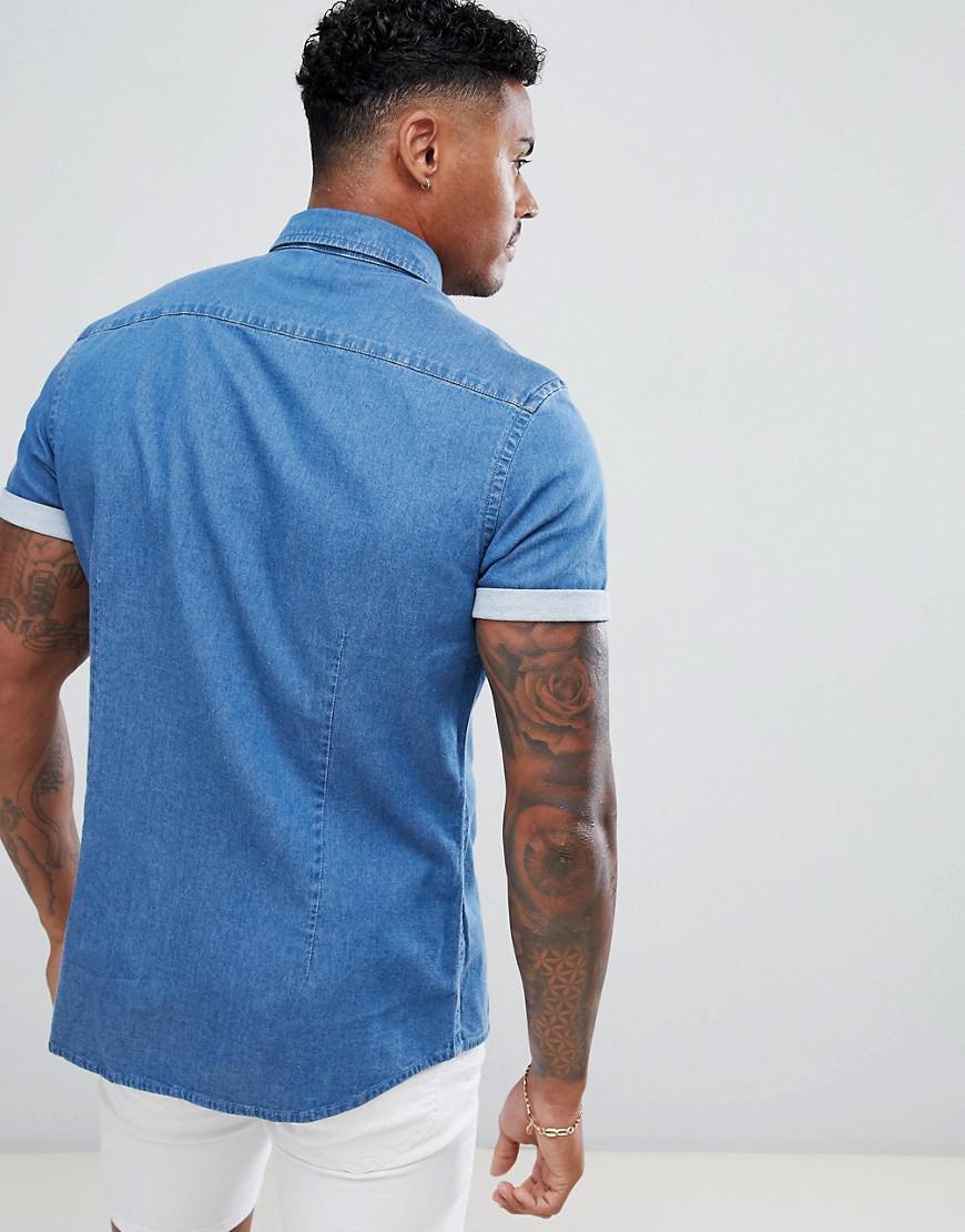 d91176b16e ASOS Stretch Slim Denim Shirt In Mid Wash in Blue for Men - Lyst