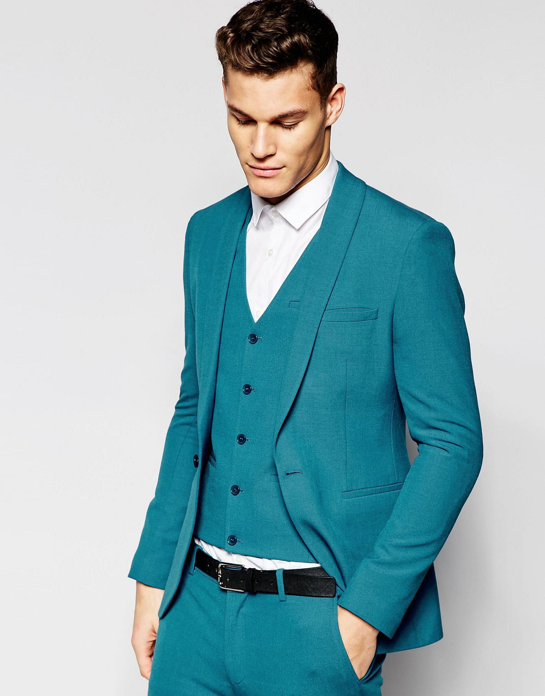 Lyst - Asos Super Skinny Suit Jacket In Turquoise in Green for Men