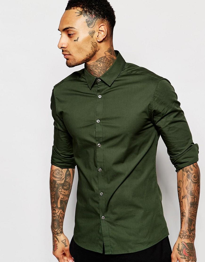 Asos Skinny Shirt In Dark Green With Long Sleeves in ...