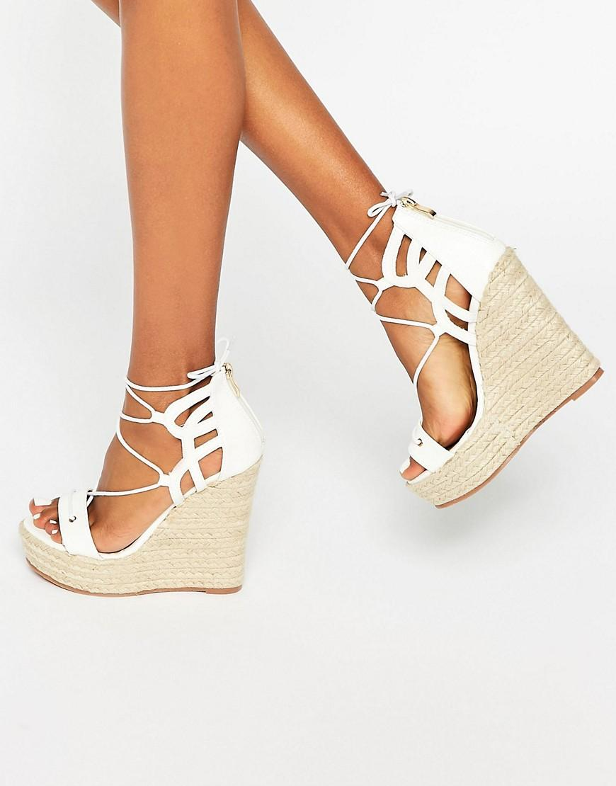 daisy street tie up wedge espadrilles in white lyst. Black Bedroom Furniture Sets. Home Design Ideas