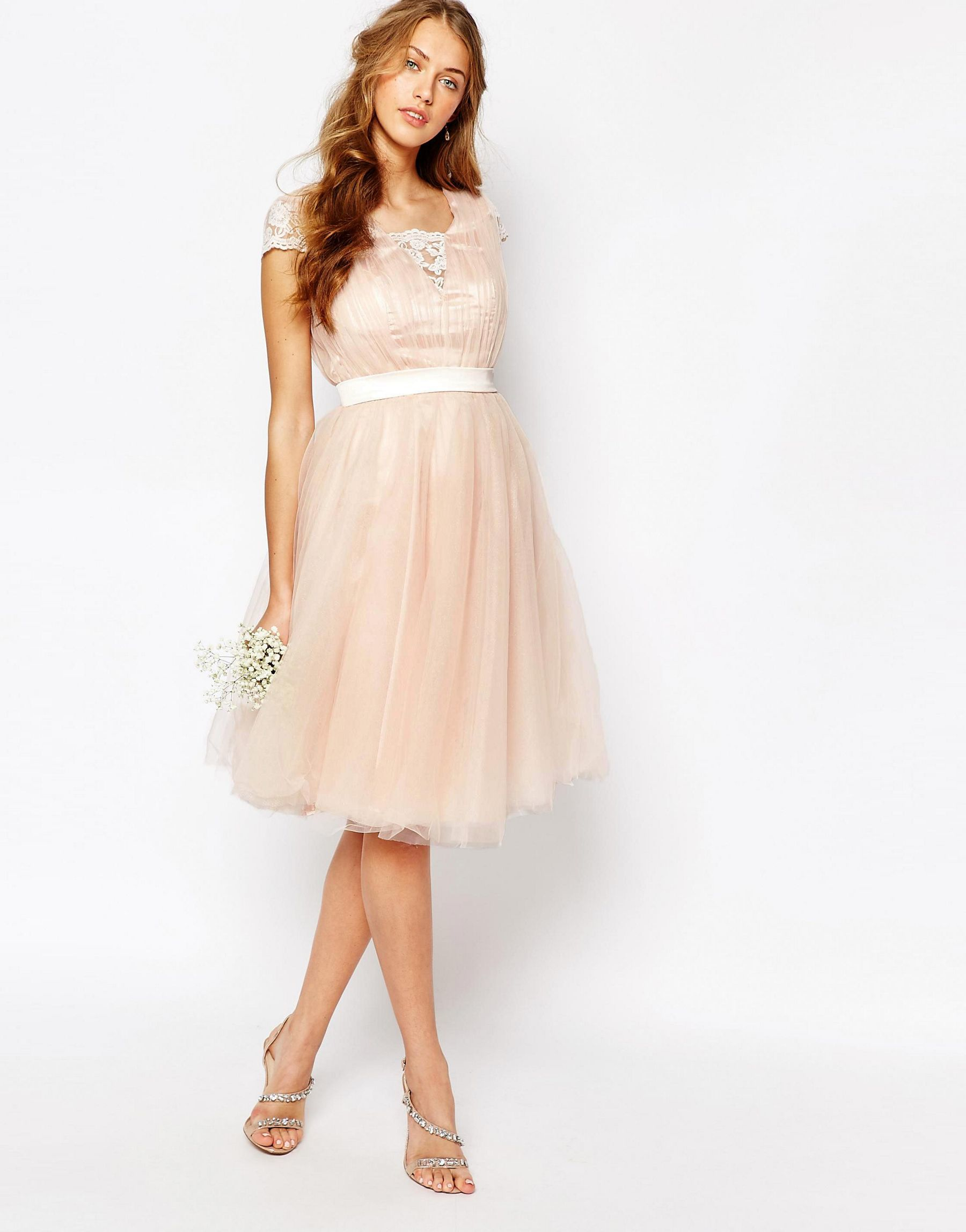 f6a6861c97 Chi Chi London Midi Dress With Tulle Skirt And Lace Back in Natural ...