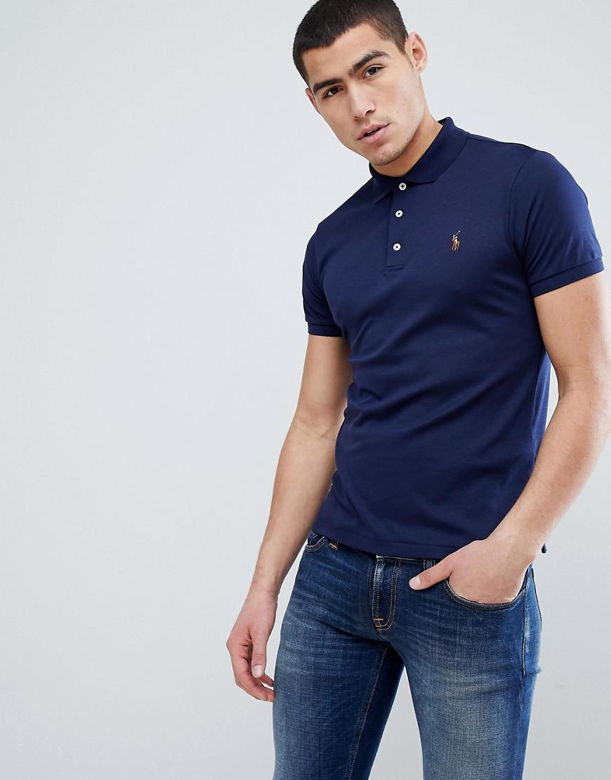 de787c150 Polo Ralph Lauren Slim Fit Pima Soft Touch Polo Multi Player In Navy in  Blue for Men - Lyst