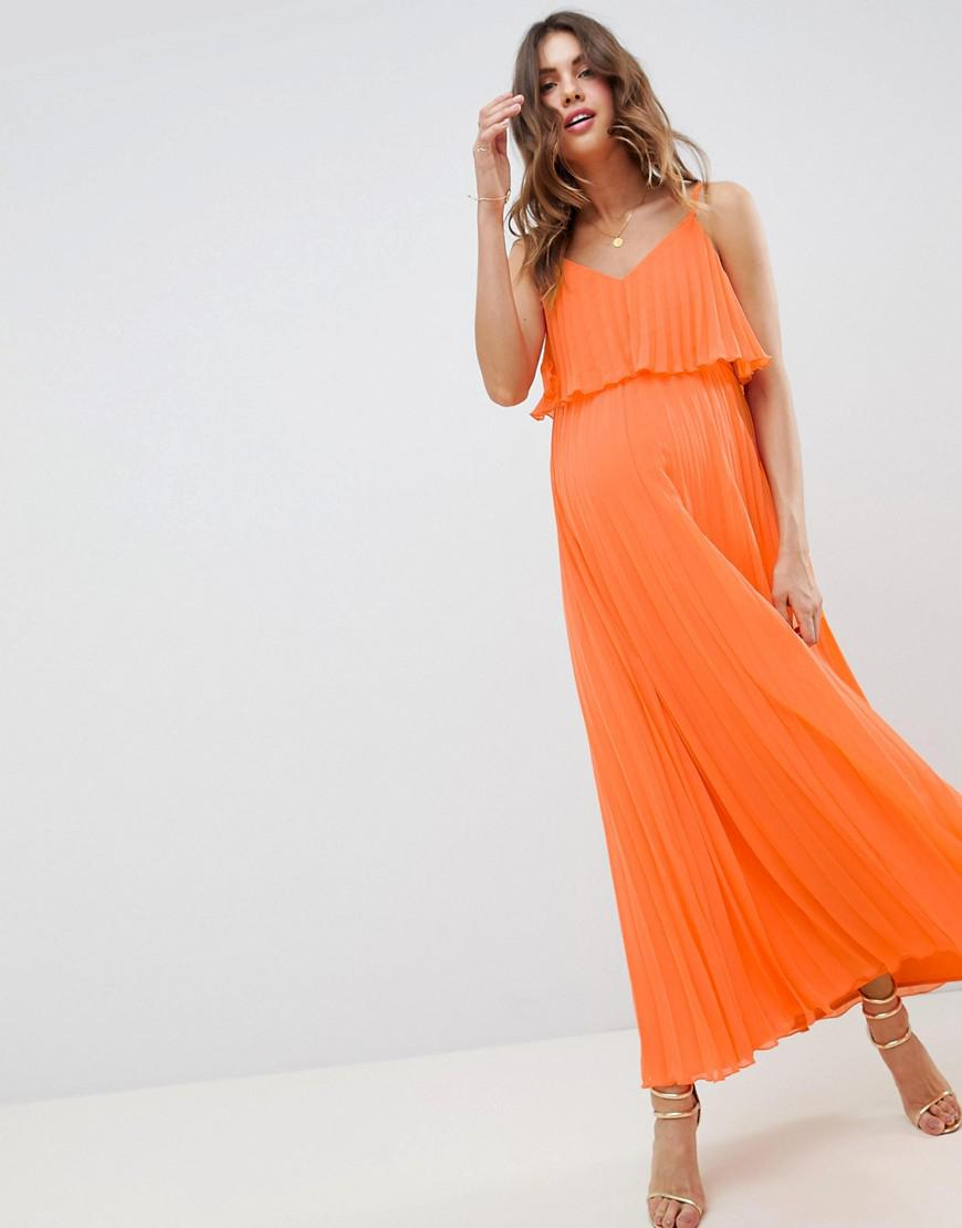 e63578947725 ASOS Asos Design Maternity Pleated Crop Top Maxi Dress in Orange - Lyst