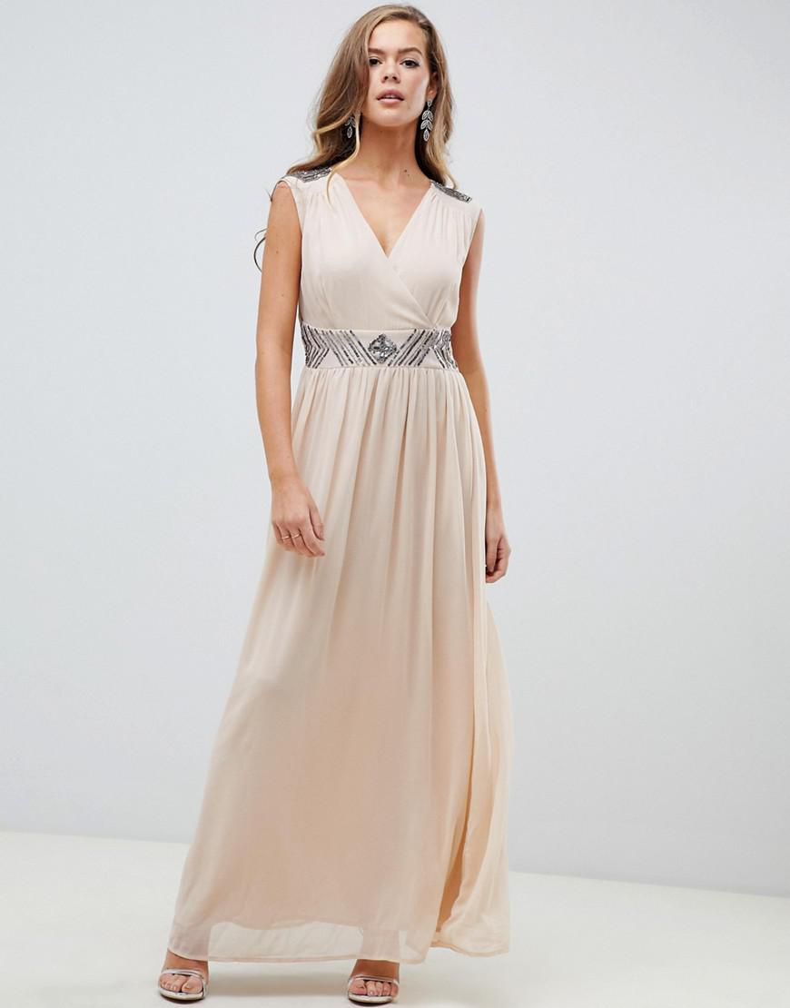 AX Paris Cream Maxi Dress With Embellished Detail in Natural - Lyst f3b2470fb