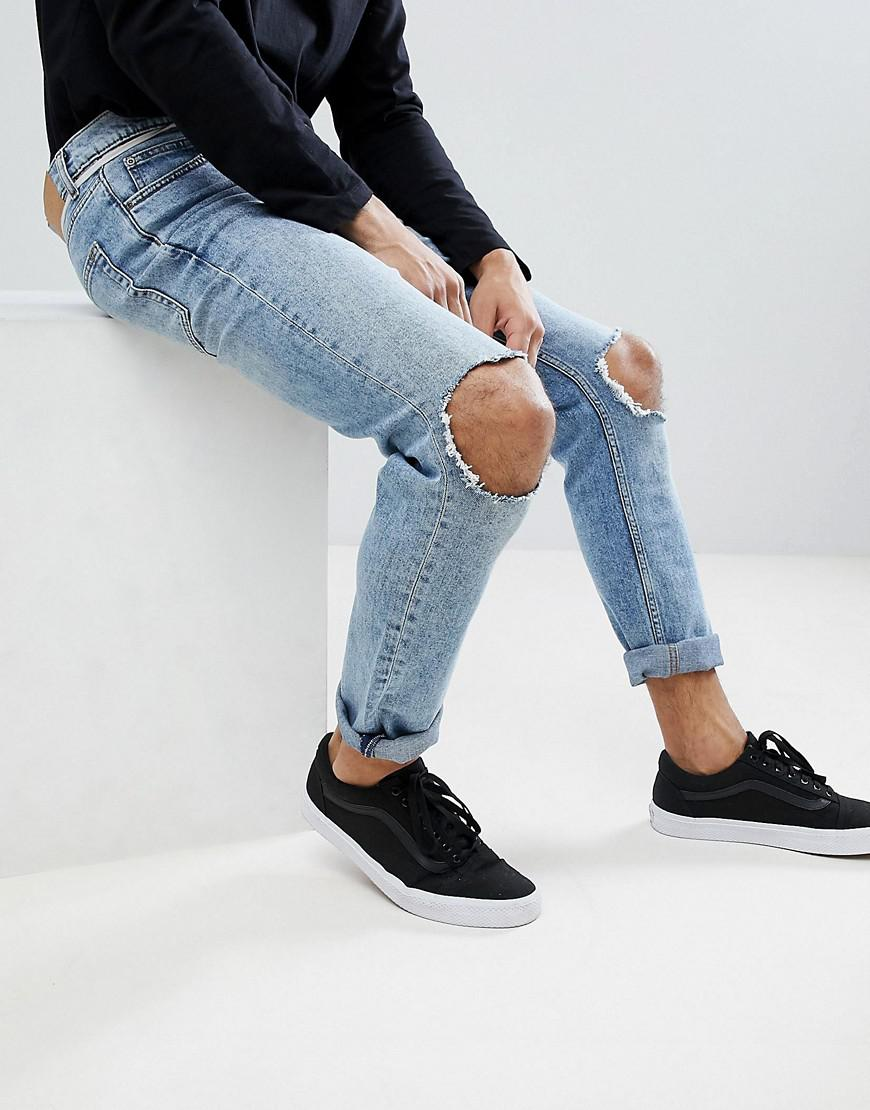 935de1ce140 Cheap Monday Sonic Slim Jeans With Blown Out Knee in Blue for Men - Lyst