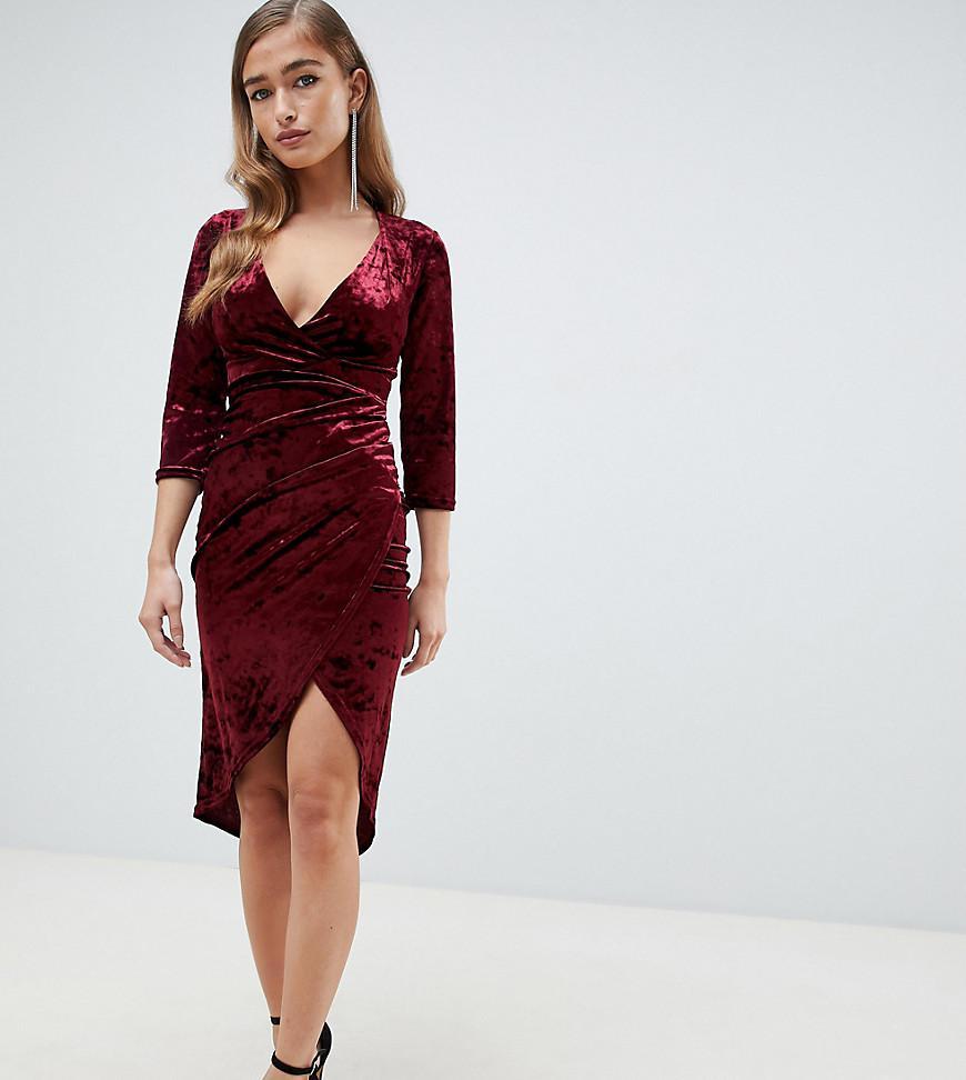 Tfnc London Velvet Midi Wrap Dress In Burgundy in Red - Lyst a9ae11c536