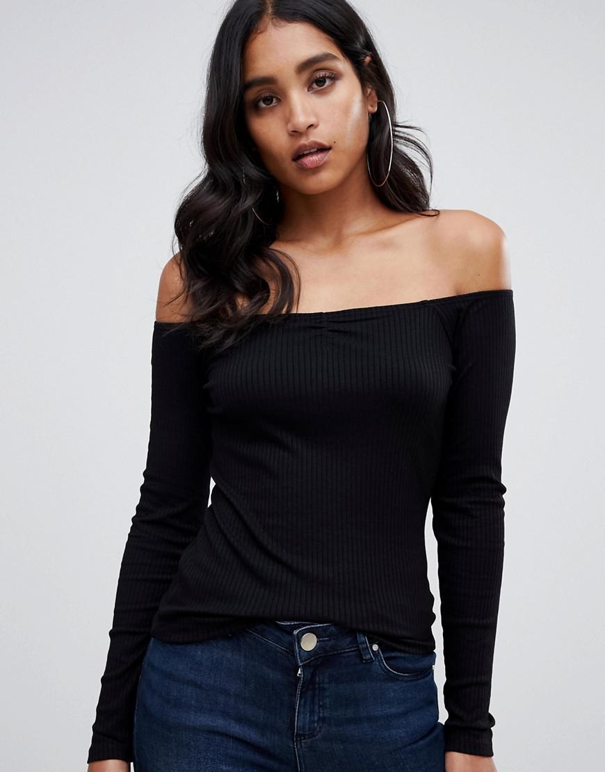 5db57a0f8715b ASOS Off Shoulder Bardot Top In Rib In Black in Black - Lyst