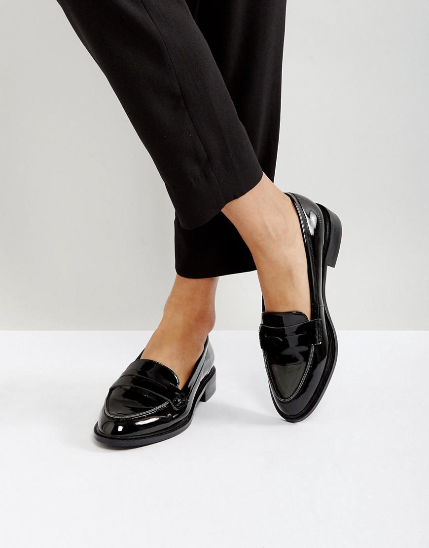 Lyst - Asos Munch Loafer Flat Shoes in Black