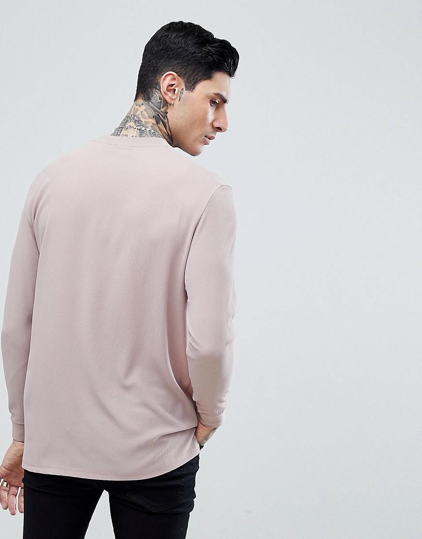 9f60b4270a751 T-shirt dcontract long manches longues en crpe ASOS pour homme en coloris  Rose - Lyst