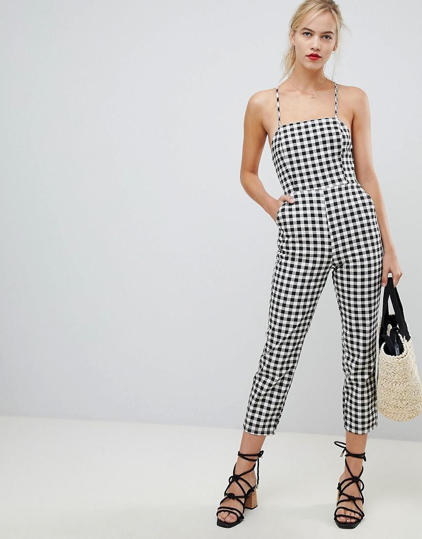 60a8644859 ASOS. Women s Denim Jumpsuit With Strappy Back In Gingham