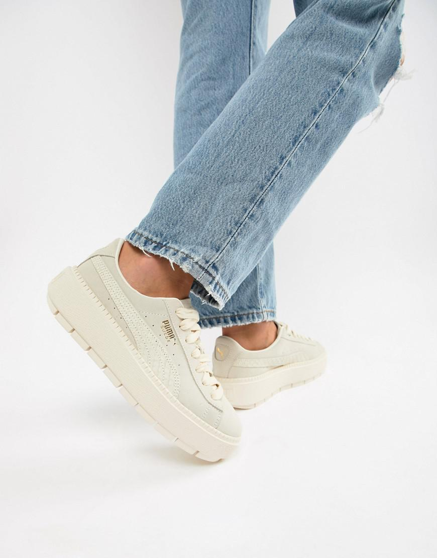 puma platform trace sneakers in sand with contrast sole