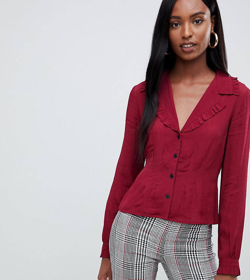 cb32fe3ee964c Lyst - ASOS Asos Design Tall Waisted Tea Blouse With Collar Detail ...