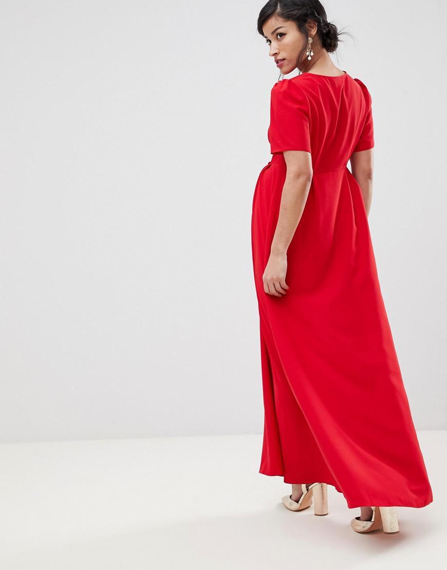 3905f675a59f6 ... Design Maternity Button Through Maxi Tea Dress - Lyst. Visit ASOS. Tap  to visit site