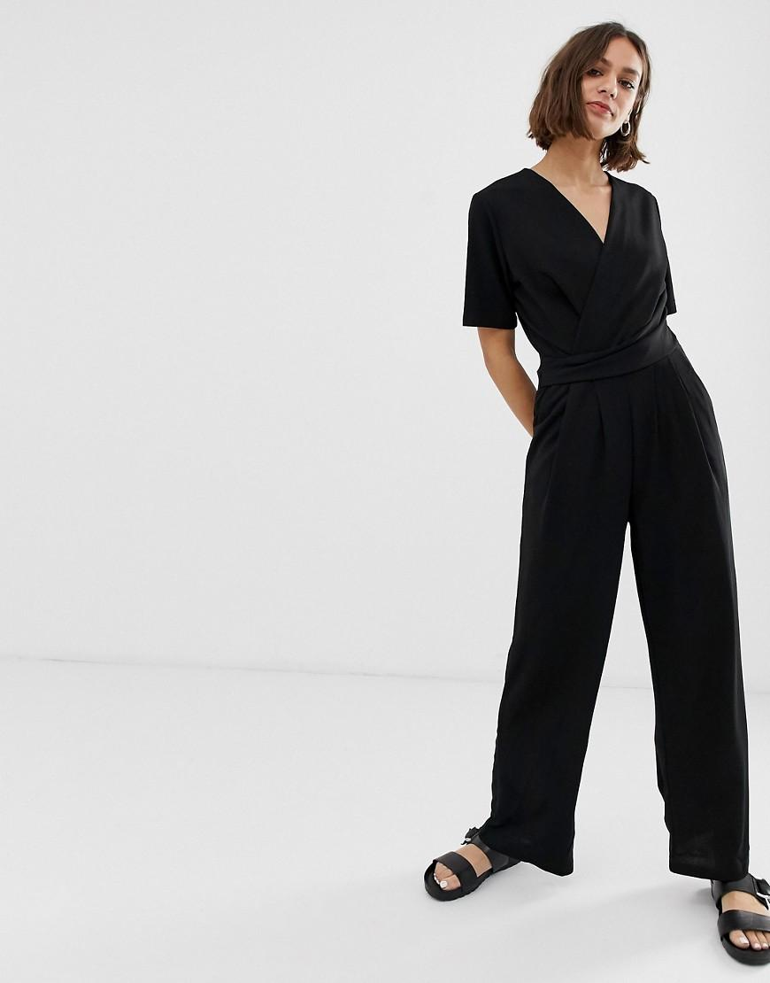d93d0bba8e B.Young Wrap Front Jumpsuit in Black - Lyst