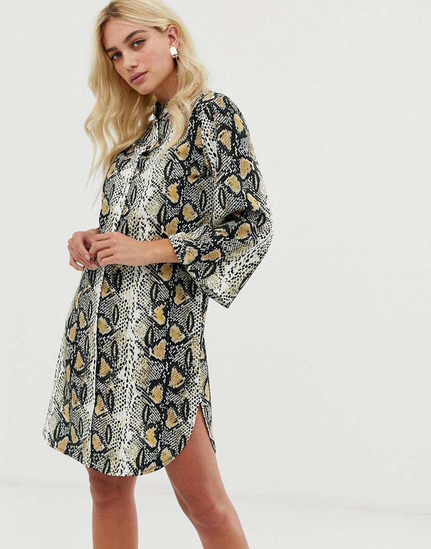 be606802e Zibi London Snake Print Shirt Dress With Belt Detail in Natural - Lyst