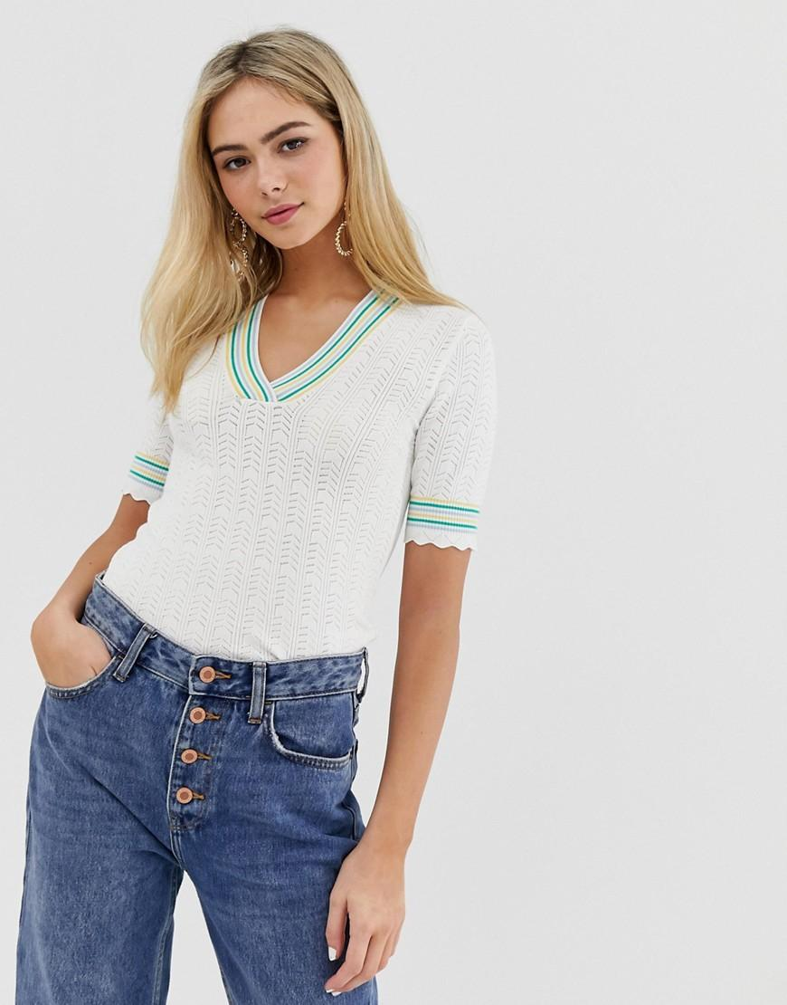 b322213ff42b4 Miss Selfridge. Women s Natural Knitted Top With Contrast Detail In Cream