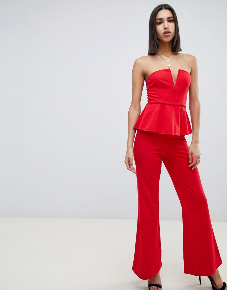 2d9b524bdb5b Girl In Mind Structured V Wide Leg Jumpsuit in Red - Lyst