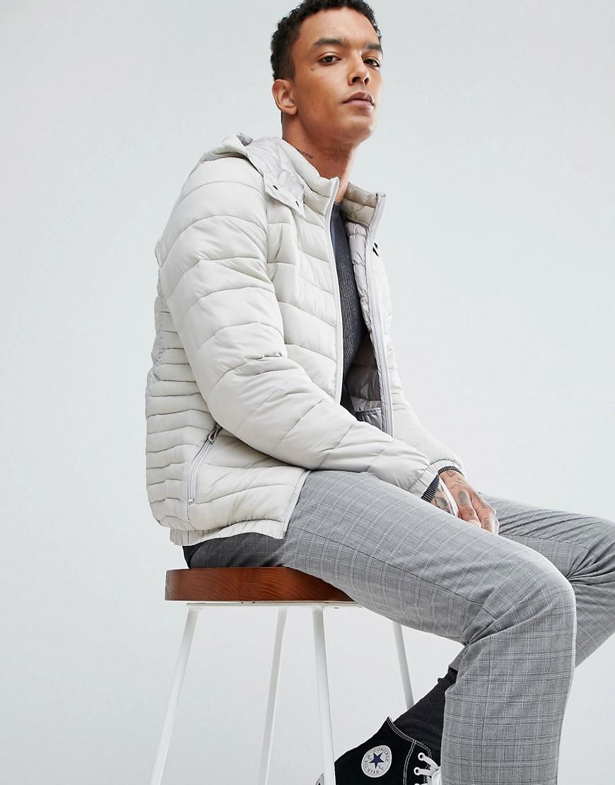a29cb07833df1 ... Lyst Bershka Quilted Jacket With Detachable Hood In Light Grey online  shop eee44 c811f  Ted Baker Men Clothing ...