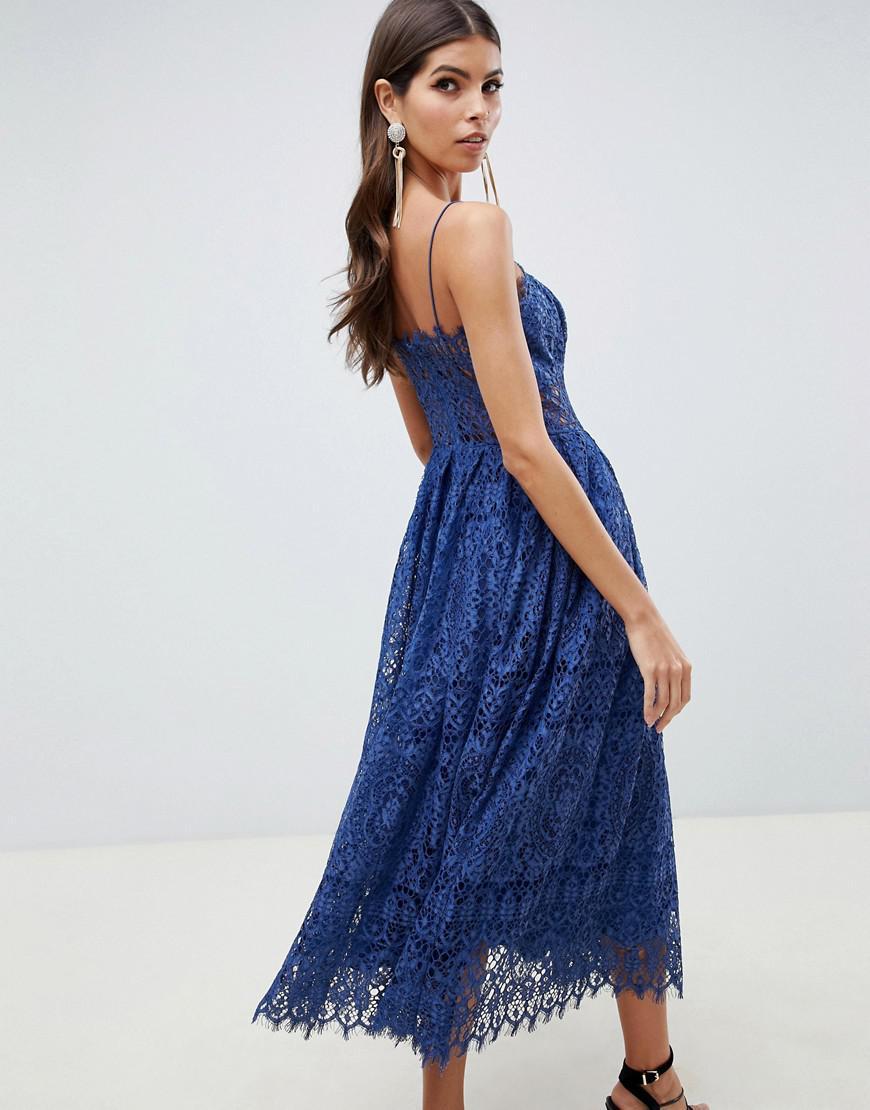 2fbf2f4057 ASOS Lace Cami Midi Prom Dress in Blue - Lyst