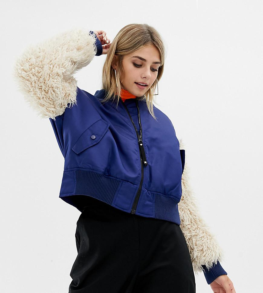7f4b6cdd22b2 Collusion Bomber Jacket With Faux Fur Sleeves in Blue - Lyst