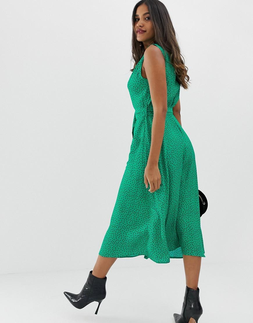 8676a7d3858 Lyst - ASOS Button Through Midi Dress With Belt In Polka Dot in Green