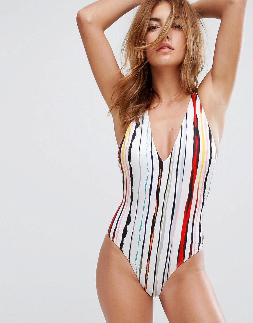 f3759ef4a3c5 Lavish Alice Plunge Neck Swimsuit With Strappy Back In Stripe Print ...