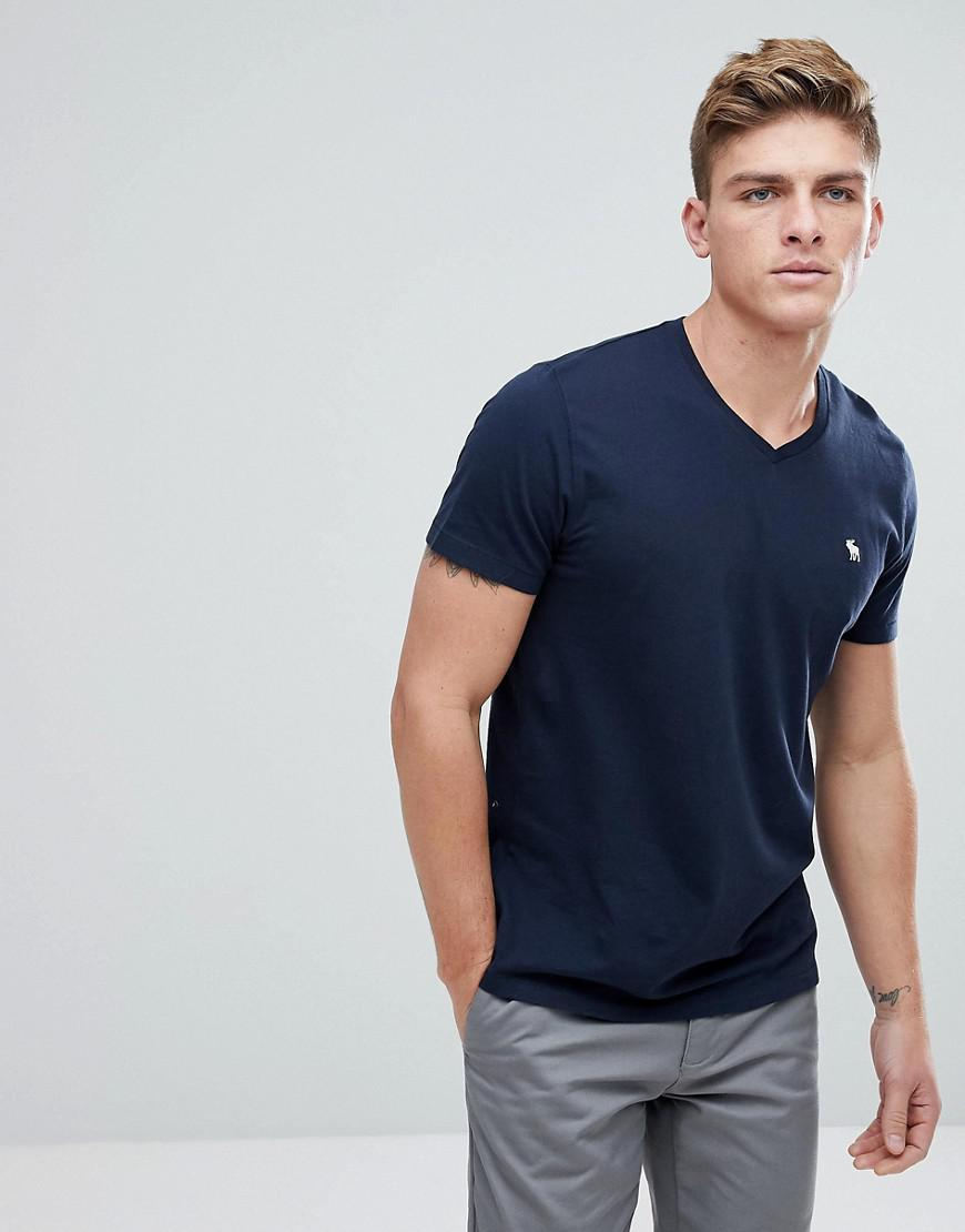 5a326672 Abercrombie & Fitch Icon Moose Logo V-neck T-shirt In Navy in Blue ...