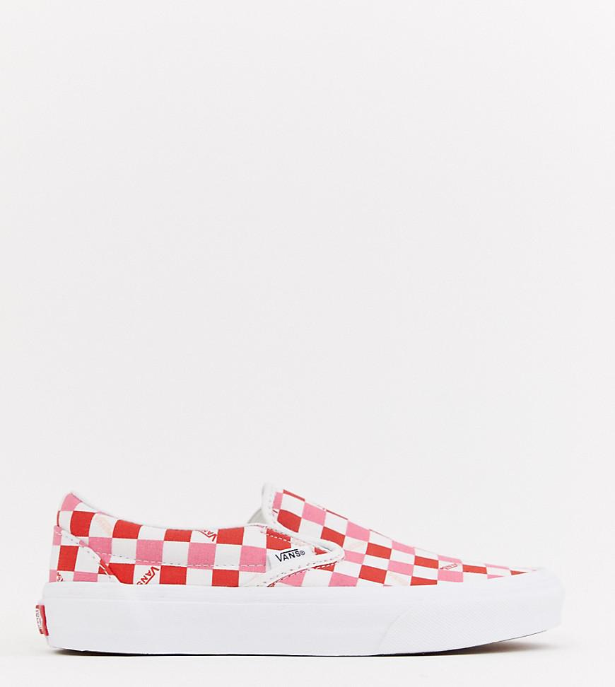 b4258efda2a48 Vans Exclusive Red And Pink Checkerboard Slip On Sneakers - Lyst