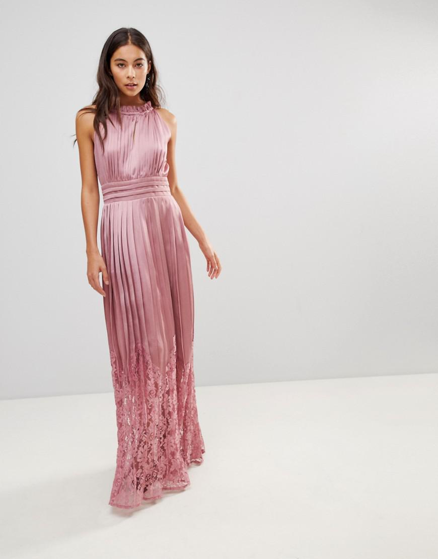 5e10f86e6e86 Little Mistress - Pink Ruffle High Neck Maxi Dress With Lace Pleated Skirt  - Lyst. View fullscreen