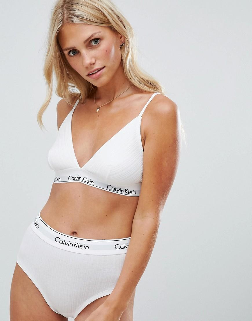 Calvin Klein - White Modern Cotton Ribbed Unlined Triangle Bra - Lyst. View  fullscreen 33bf9d53146