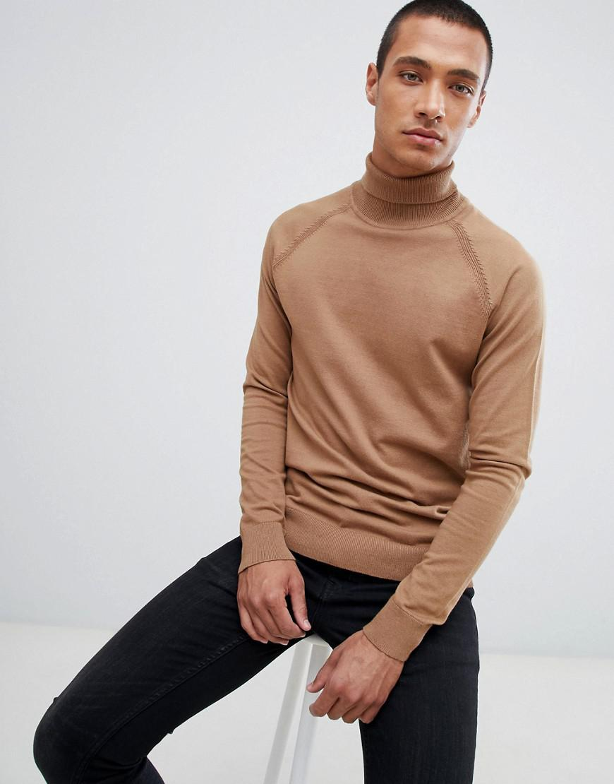 2fb15a1d83 Lyst - Threadbare Roll Neck Cotton Jumper in Brown for Men