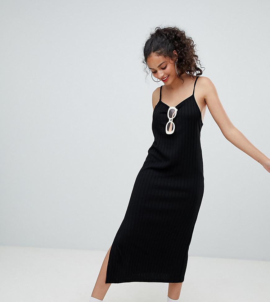 e86fc71e70e91 Bershka Wide Rib Cami Midi Dress In Black in Black - Lyst