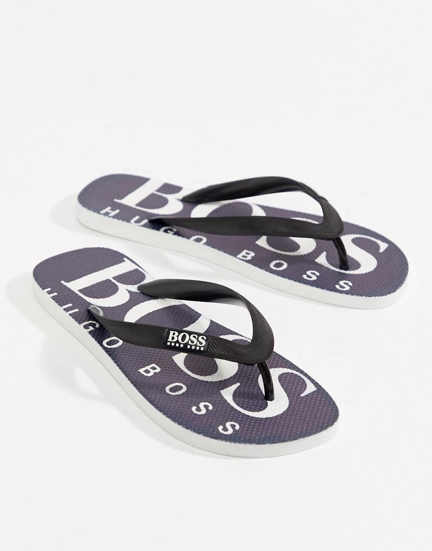 BOSS Logo Flip Flops in Navy