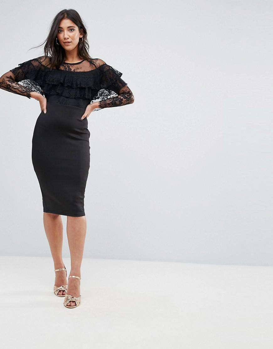 4b7d879a02 AX Paris Long Sleeve Overlay Midi Dress With Lace Detail in Black - Lyst