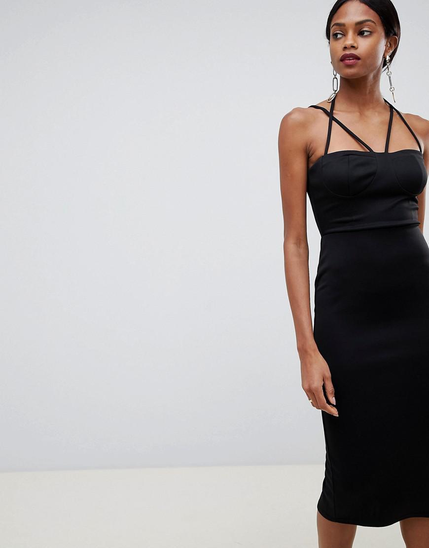 0d1b9222c46af ASOS 90s Strappy Midi Bodycon Dress in Black - Lyst