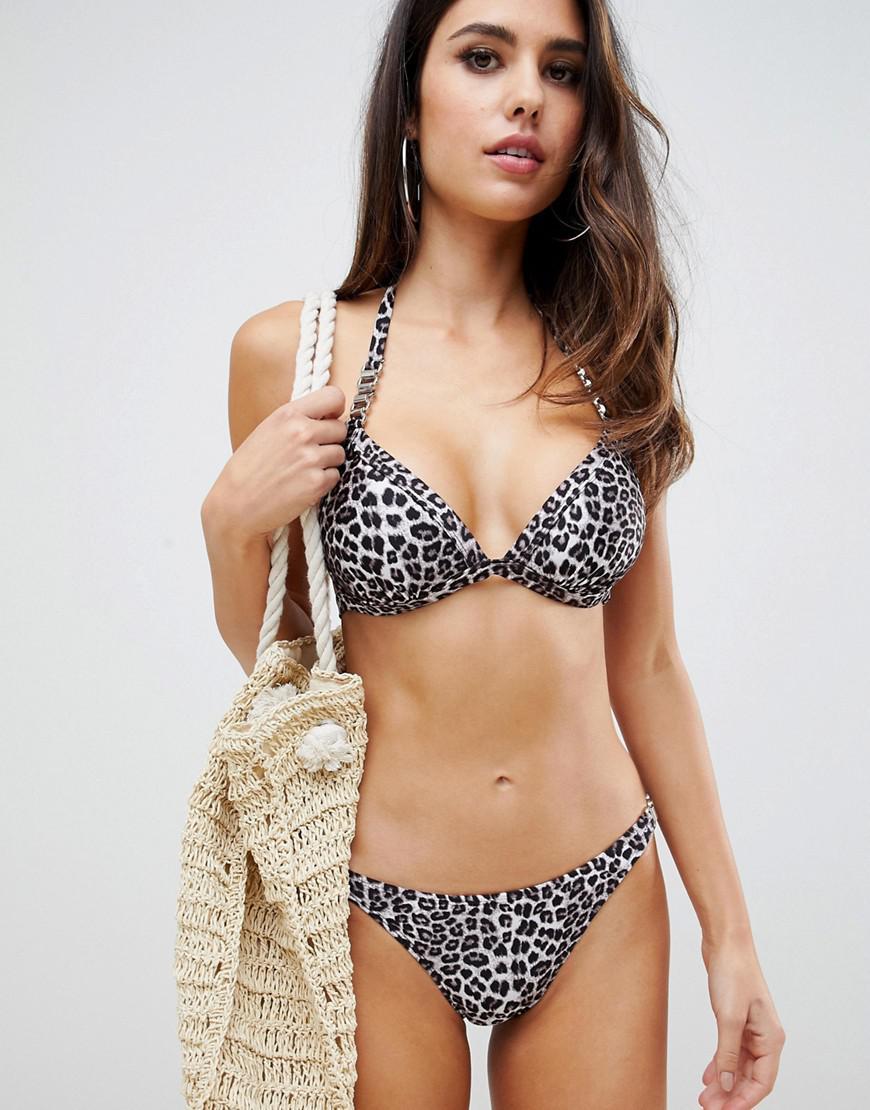 aabb916773795 Lyst - Lipsy Bikini Top With Gold Trim In Leopard - Save 8%