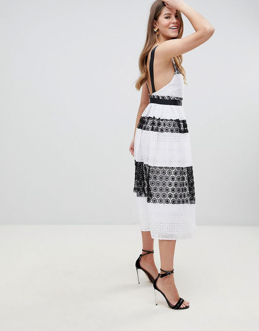 5aee0719165 Lyst - ASOS Asos Premium Lace Pinny Midi Dress