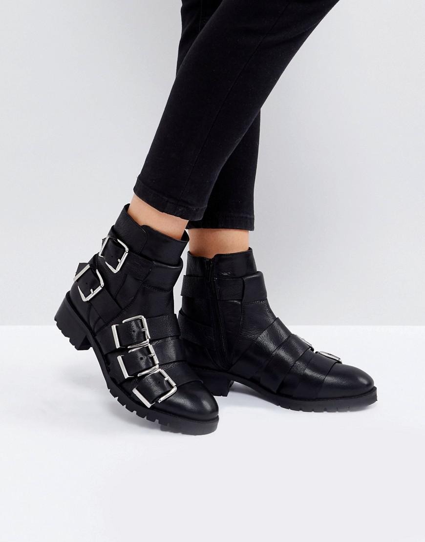 DESIGN Alena Leather Multi Buckle Ankle Boots outlet store online BEqwZA