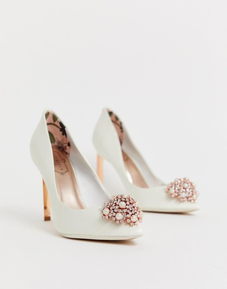 49fa0a875 Ted Baker Ivory Stain Embellished Heeled Court Shoes in White - Lyst