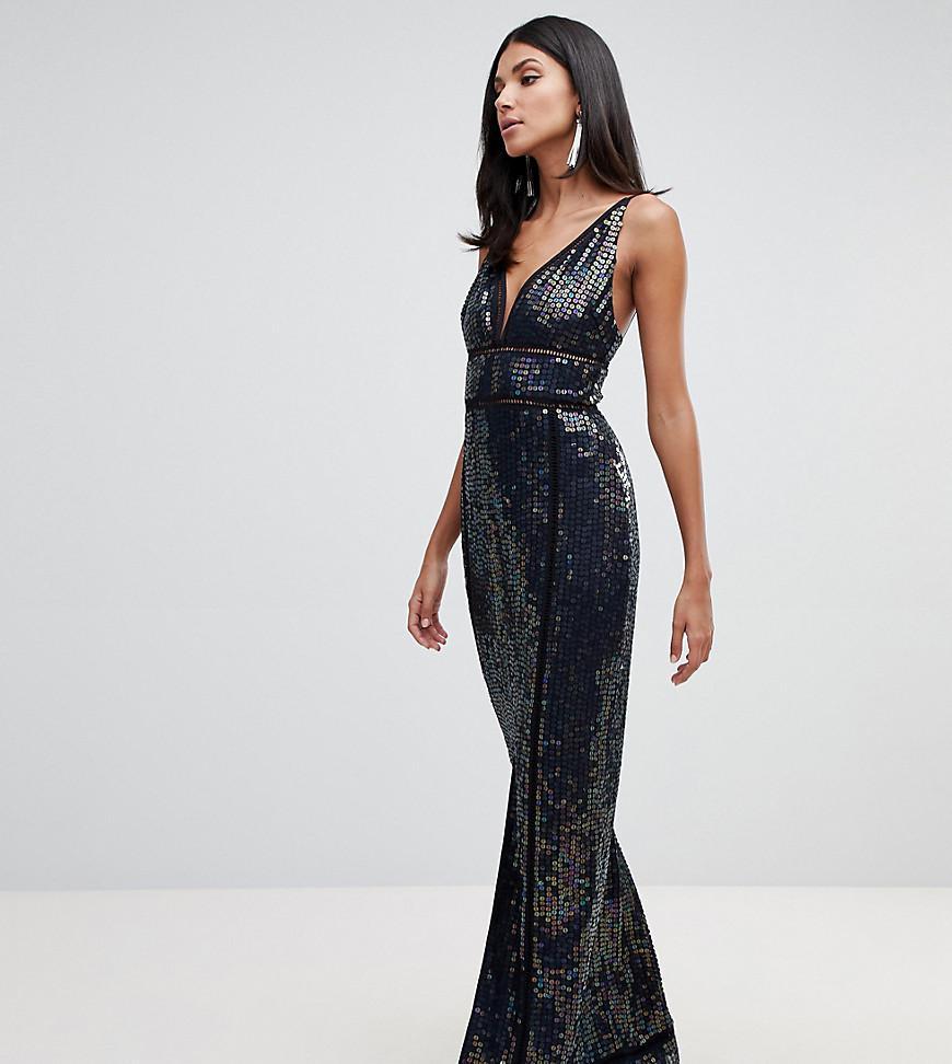 986d44fcbf ASOS Asos Design Tall Sequin Maxi Dress With Ladder Trim in Black - Lyst