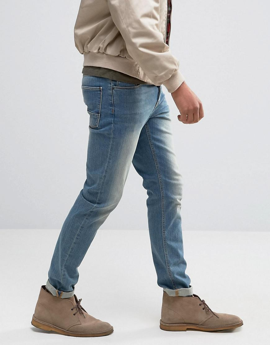 ASOS - Stretch Slim Jeans In 12.05oz In Light Blue for Men - Lyst. View  Fullscreen