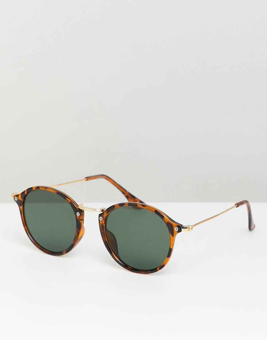 749e3c6c8beafc Asos Round Sunglasses In Tort With Metal Details And Green Lens in ...