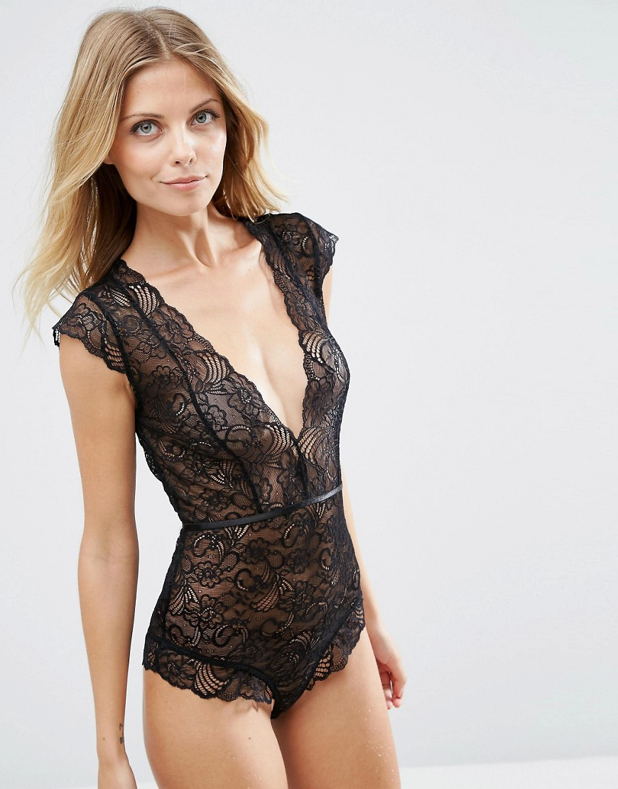 355afb288ce Lyst - Y.A.S Wing Lace Bodystocking in Black
