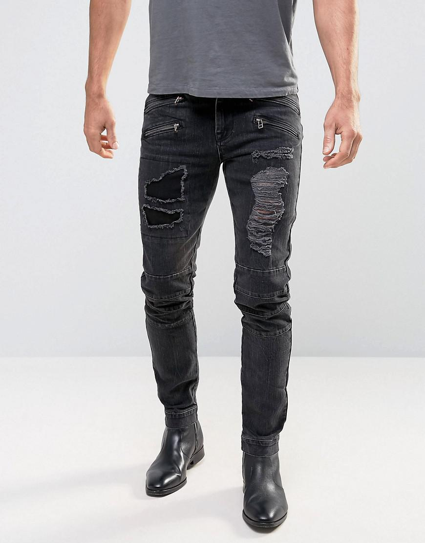 PLUS Skinny Jeans With Biker Zip And Rips Details In Washed Black - Washed black Asos ScgEl