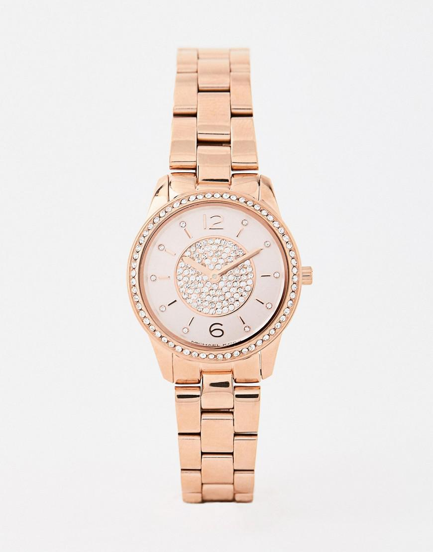 f15158e3bf94 Michael Kors. Men s Metallic Mk6619 Petite Runway Bracelet Watch In Rose  Gold 28mm