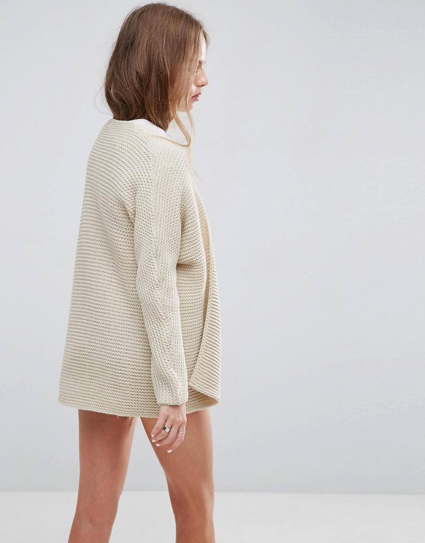 Asos Chunky Cocoon Cardigan in Natural | Lyst